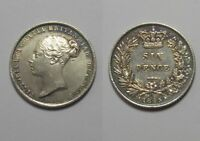 CLEANED GREAT BRITAIN SIX PENCE 1845 6D 6 PENCE SILVER COIN EXCELLENT