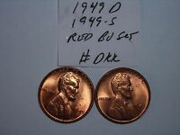 WHEAT CENT 1949S & 1949D SHARP RED BU SET 1949-D,1949-S LOT UNC LINCOLN CENT'S