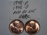 WHEAT CENT 1948 P & D SET GREAT RED BU 1948-D,1948-P LOT UNC LINCOLN CENT