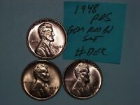 WHEAT CENT 1948-D,1948-S RED BU SET 1948,1948D,1948S LOT 3 UNC LINCOLN CENT