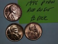 WHEAT CENT 1946 P & D & S SET GEM RED BU 1946-S 1946-D,1946-P LOT LINCOLN CENTS