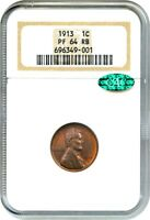 1913 1C NGC/CAC PR 64 RB -  MATTE PROOF LINCOLN CENT - LINCOLN CENT