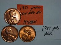 WHEAT CENT 1951-P,1951-D,1951-S GEM RED BU SET 1951D,1951S UNC LINCOLN CENT LOT