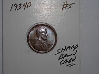 WHEAT CENT 1934D SHARP CH BU 1934-D LINCOLN CENT LOT 5 GREAT BROWN CH UNC