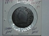 1814 1C CLASSIC HEAD LARGE CENT , HARDER DATE