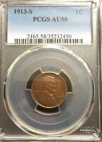 BEAUTIFUL AU 1913-S LINCOLN WHEAT CENT PCGS AU58 BN.  DATE HIGH GRADE
