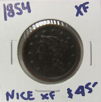 1854 BRAIDED HAIR LARGE CENT  COIN EXTRA FINE  C633