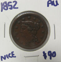 1852 BRAIDED HAIR LARGE CENT  COIN AU C630
