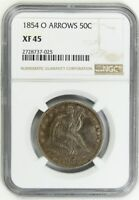 1854-O 50C NGC EXTRA FINE 45 ARROWS POPULAR TYPE COIN - LIBERTY SEATED HALF DOLLAR