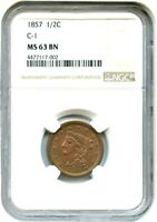 1857 1/2C NGC MINT STATE 63 BN C-1 HALF CENT