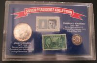 SILVER PRESIDENTS COLLECTION 1964 KENNEDY & 1951 ROOSEVELT WITH STAMPS IN CASE