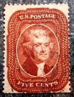 BUFFALO STAMPS SCOTT 28A INDIAN RED F/VF W/ FACE FREE CANCEL CV   $3 500