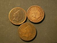 NICE LOT OF 3 VINTAGE  INDIAN CENTS.