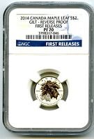 2014 $2 CANADA SILVER MAPLE LEAF GILT GOLD NGC PF70 UC REVER