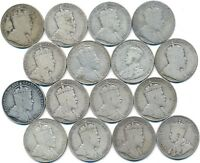 16 OLD SILVER FIFTY 50 CENT'S CANADA 1906 1913