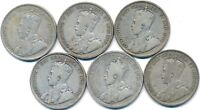 6 OLD SILVER FIFTY 50 CENT'S CANADA 1929 1936