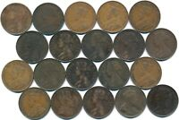 20 LARGE ONE CENTS FROM NEWFOUNDLAND CANADA 1865 1929