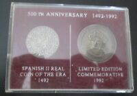 500TH ANNIVERSARY COLUMBUS COIN SET REAL SPANISH COIN & COMMEMORATIVE COIN