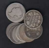 1870 1901 CANADA 25 CENTS SILVER COINS LOT OF 10