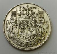 1943 CANADA FIFTY 50 CENTS .800 SILVER COIN