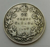 1907 CANADA 25 TWENTY FIVE CENT .925 SILVER UNCIRCULATED COIN