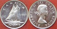 BRILLIANT UNCIRCULATED 1957 CANADA SILVER 10 CENTS FROM MINT'S ROLL