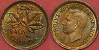 BRILLIANT UNCIRCULATED 1940 CANADA 1 CENT MAYBE TONED