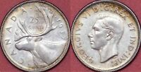 EXTRA FINE 1937 CANADA SILVER 25 CENTS