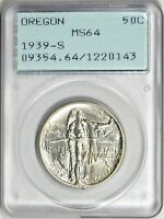 1939-S OREGON TRAIL SILVER COMMEMORATIVE HALF DOLLAR MINT STATE 64 OGH 1ST GEN PCGS