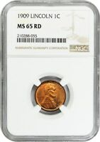 1909 LINCOLN 1C NGC MINT STATE 65 RD - LINCOLN CENT