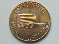EDMONTON ALBERTA CANADA CITY HALL BUILDING MEDAL WITH SHOWGIRL IN BRONZE VARIETY