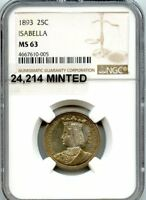 C10166- 1893 ISABELLA SILVER QUARTER COMMEMORATIVE NGC MINT STATE 63 - 24,214 MINTED