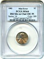 MINT ERROR: 1982 1C PCGS MINT STATE 64 DBL STK ON CLAD 10C PL - LINCOLN CENT
