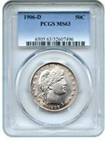 1906-D 50C PCGS MINT STATE 63 - PRETTY TONING - BARBER HALF DOLLAR - PRETTY TONING