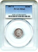 1867-S H10C PCGS MINT STATE 62 - SEATED HALF DIME