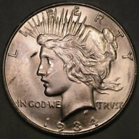 1934 MICRO D PEACE SILVER DOLLAR   TOP 50 VAM 4 DOUBLE DIE OBVERSE MOTO