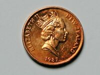 NEW ZEALAND QUEEN ELIZABETH II 1987 2 CENTS COIN AU  WITH KOWHAI TREE FLOWER