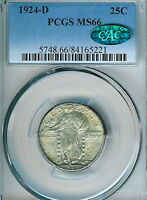 1924-D STANDING LIBERTY QUARTER : PCGS MINT STATE 66  CAC STICKER