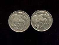 WORLD COINS NEW ZEALAND 1976 1977 20 CENTS  T790  2 GREAT KIWI COINS