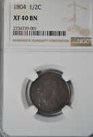 1804 DRAPED BUST HALF CENT, NGC EXTRA FINE 40