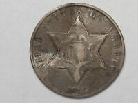 1859 US SILVER THREE CENT COIN TYPE 3 - VF W/ BEND. 3.  39