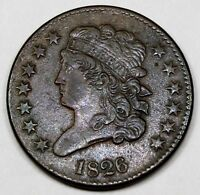 1826 UNITED STATES ONE-HALF CLASSIC HEAD CENT / PENNY - EXTRA FINE  EXTRA FINE CONDITION