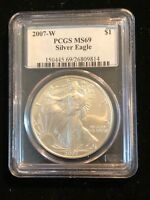 2007-W US SILVER EAGLE S $1 DOLLAR COIN PCGS MINT STATE 69 ONE 1 OZ .999