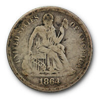 1864 S SEATED LIBERTY DIME FINE F KEY DATE US COIN ORIGINAL TONED 9357