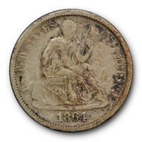 1864 S SEATED LIBERTY DIME FINE TO  FINE KEY DATE LOW MINTAGE US COIN 8576