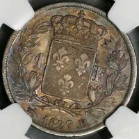 1827-B NGC EXTRA FINE  45 FRANCE SILVER 1 FRANC  96K MINTED TOP POP 1/0  16103012C