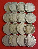 COUNT OF 16   LIBERTY HEAD  BARBER  NICKELS