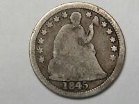 1845 SILVER US SEATED LIBERTY HALF DIME.  46