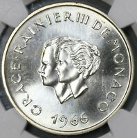 1966 NGC MINT STATE 66 GRACE KELLY WEDDING MONACO 10 FRANCS SILVER COIN 18062002C