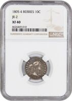 1805 10C NGC EXTRA FINE 40 4 BERRIES, JR-2 PLEASING COIN IN HAND - BUST DIME